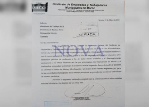 Trabajadores municipales de Morón anuncian estado de alerta y movilización, y denuncian agresiones